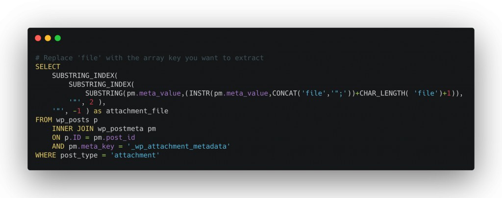 Screenshot of code to select array value from serialized array data in MySQL